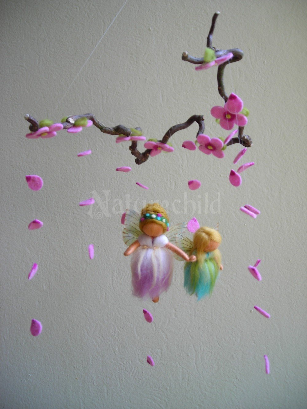 Mobiles felted work naturechild a life handcrafted for Diy felt flower mobile
