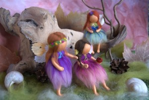 felted fairies with ladybug